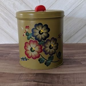 VINTAGE Canister Green with floral